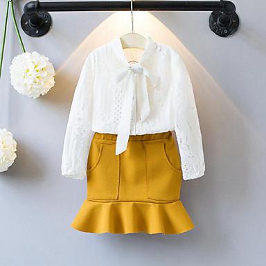 preiswerte Sommerkleidersets für Mädchen-Baby Mädchen Spitze Gerüscht Patchwork Langarm Standard Kleidungs Set Weiß