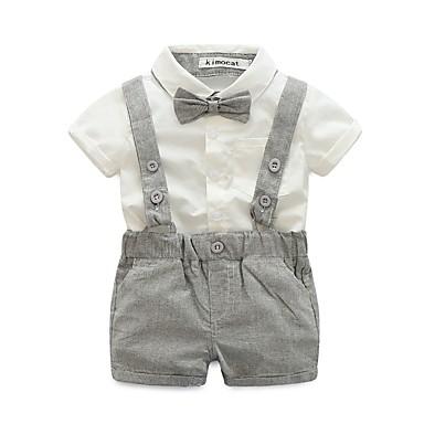 povoljno Odjeća za dječake-Beba Dječaci Elegantna i Luksuzan Jednobojni Kratkih rukava Pamuk Komplet odjeće Braon