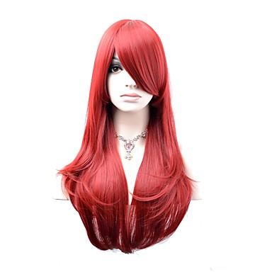 povoljno Perike i ekstenzije-Sintetičke perike Perike za maškare Prirodne kovrče Prirodne kovrče Perika Dug Tamno crvena Sintentička kosa Žene Crvena OUOHAIR