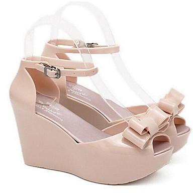 Mujer Zapatos PVC Verano Confort Zapatillas y flip-flops Media plataforma Puntera abierta Negro / Beige / Almendra 8NxHyisuph