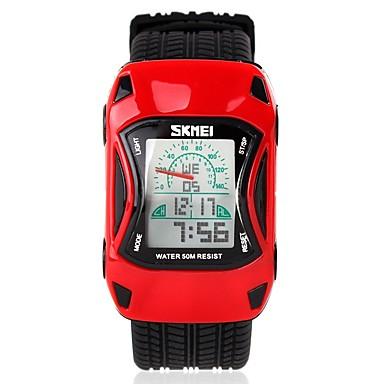 levne Pánské-SKMEI Náramkové hodinky Křemenný Silikon Černá 50 m Voděodolné Alarm Kalendář Digitální dámy Na běžné nošení Animák Módní - Červená Zelená Modrá / Chronograf / Svítící