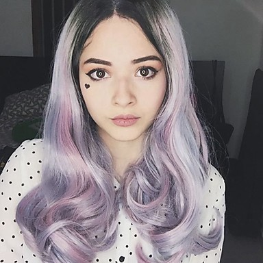 Synthetic Lace Front Wig Lace Front Wig Long Rainbow Synthetic Hair Women's Natural Hairline Multi-color Uniwigs