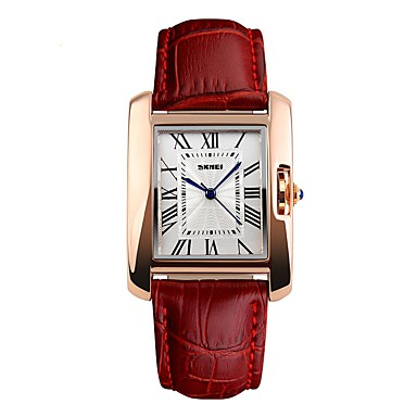 cheap Square & Rectangular Watches-SKMEI Women's Wrist Watch Square Watch Quartz Ladies Water Resistant / Waterproof Genuine Leather Black / Red Analog - Black Red Coffee / Japanese / Large Dial / Japanese