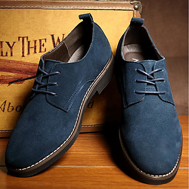 cheap Men's Oxfords-Men's Oxfords Suede Shoes Comfort Shoes Light Soles Business Casual Outdoor Office & Career Faux Leather Black / Blue / Brown Spring / Fall / Split Joint / EU40