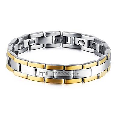 levne Pánské šperky-Pánské Kubický zirkon Řetězové & Ploché Náramky Rokové Gothic Módní rovnováhy Zirkon Náramek šperky Zlatá Pro Párty Narozeniny Dar Denní Večerní oslava / Titanová ocel