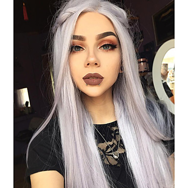 Synthetic Lace Front Wig Straight Gray Grey Synthetic Hair Women's Ombre Hair Gray Wig Long Lace Front Uniwigs