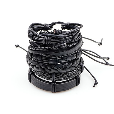 cheap Men's Bracelets-Men's Leather Bracelet Layered Braided Twisted Punk Rock Leather Bracelet Jewelry Black / Brown / Brown / White For Stage Going out