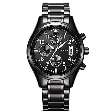 levne Pánské-SINOBI Pánské Sportovní hodinky Vojenské hodinky Náramkové hodinky japonština Křemenný Kov Nerez Černá 30 m Voděodolné Kalendář kreativita Analogové Přívěšky Luxus Vintage Na běžné nošení Módní -