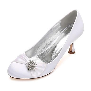 Mujer Zapatos Satén Primavera / Verano Pump Básico Zapatos de boda Tacón Cuña Dedo redondo Flor Azul / Champaña / Marfil / Boda 0nO1UX06