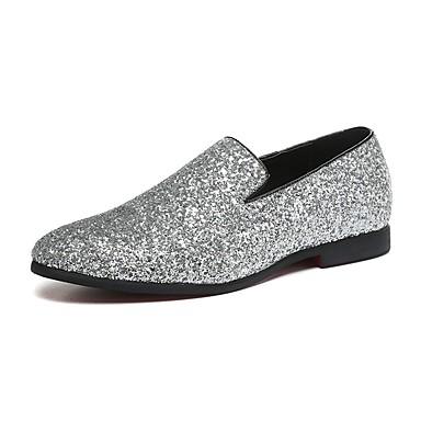 billige Utvalgte tilbud-Herre Novelty Shoes Paljett / Lær / Glitter Vår / Høst En pedal Gange Gull / Sølv / Bryllup / Fest / aften / Bryllup / Fest / aften / EU40