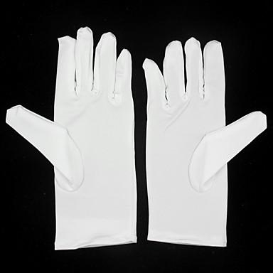 preiswerte Handschuhe für die Party-Elastischer Satin Handgelenk-Länge Handschuh Blumenmädchen Handschuhe With Rüschen
