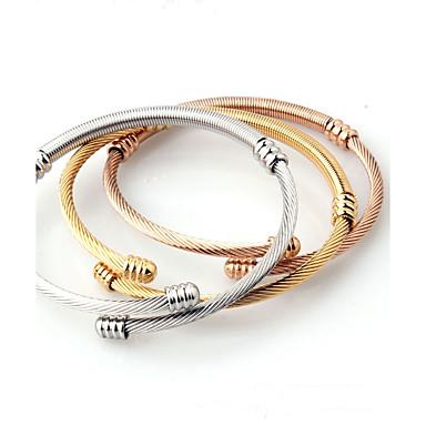 levne Pánské šperky-3ks Pánské Dámské Kotníkové náramky Široké náramky Klasické minimalistický styl Módní Open Titanová ocel Náramek šperky Zlatá Pro Svatební Narozeniny Denní Ležérní Jdeme ven / Pozlacené
