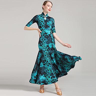 povoljno Odjeća i obuća za ples-Klasični plesovi Žene Seksi blagdanski kostimi Umjetna svila Gumbi Rukava do lakta Prirodno Haljina