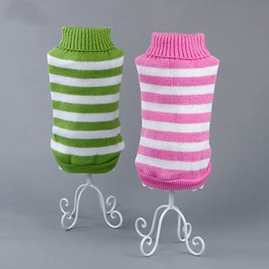 Katt Hund Tröjor Vinter Hundkläder Grön Blå Rosa Kostym Cotton Rand Ledigt / vardag XS S M L XL