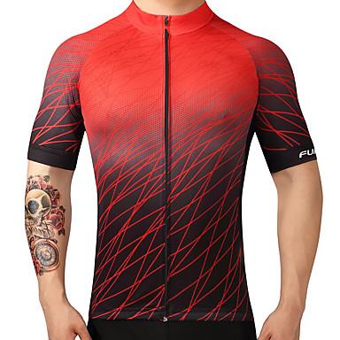FUALRNY® Homens Manga Curta Camisa para Ciclismo Gradiente Moto Camisa / Roupas Para Esporte Blusas Ciclismo de Montanha Ciclismo de Estrada Secagem Rápida Esportes 100% Poliéster Roupa