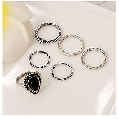 voordelige Herensieraden-Dames Ringen voor stelletjes Obsidiaan 6pcs Zilver Legering Geometrische vorm epäsäännöllinen Klassiek Bohémien Punk Avond Feest Toneel Sieraden meetkundig Hart