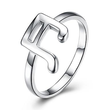 billige Motering-Dame Band Ring Sølv Sølv Luksus Klassisk Enkel Stil Bryllup Fest Smykker Musik Musikalsk note Kjærlighed