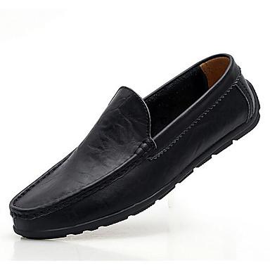 Hombre Zapatos Cuero Verano Confort Zapatos de taco bajo y Slip-On Negro / Amarillo / Marrón CKw9qMI