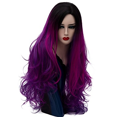 cheap Synthetic Trendy Wigs-Synthetic Wig Natural Wave Natural Wave Wig Long Dark Purple Synthetic Hair Women's Ombre Hair Purple