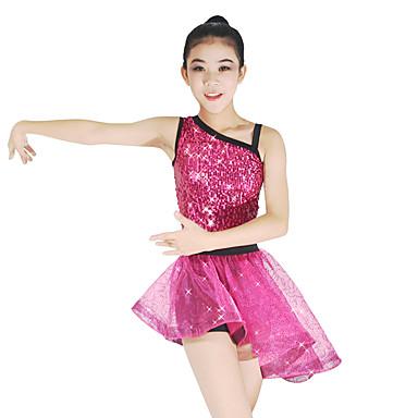 ชุดเต้นแจ๊ส Outfits สำหรับผู้หญิง Performance เส้นใยสังเคราะห์ / สแปนเด็กซ์ / ออแกนซ่า เลื่อม / ผ้าคาดเอว / โบว์ / จับจีบ เสื้อไม่มีแขน ธรรมชาติ ชุดแนบเนื้อสำหรับการเต้น / กระโปรง