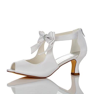 Mujer Zapatos Seda Otoño / Invierno Confort / Zapatos Dyeable Zapatos de boda Tacón Bajo Dedo redondo Marfil / Boda / Fiesta y Noche B9t0fRM3
