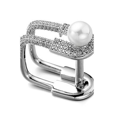 billige Motering-Herre Ring vikle ring Kubisk Zirkonium liten diamant Sølv Perle Zirkonium Sølvplett Jul Bryllup Smykker umake