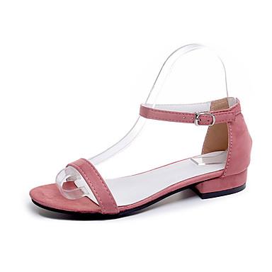 Mujer Zapatos PU Verano Confort Tacones Paseo Tacón Bajo Puntera abierta Beige / Amarillo / Rosa xbStAzSJ9v