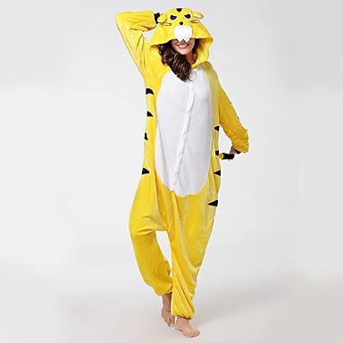 Adults  Cosplay Costume Kigurumi Pajamas Tiger Onesie Pajamas Flannel  Fabric Yellow Cosplay For Men and Women Animal Sleepwear Cartoon Festival    Holiday ... 4f84cdaf0