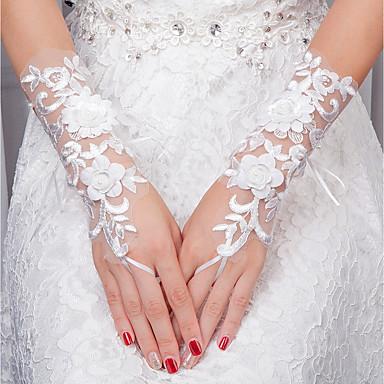 Csipke Csukló Kesztyű Menyasszonyi kesztyűk With Virág Gyöngyök 6183208  2019 –  11.99 5fb9bbafc1