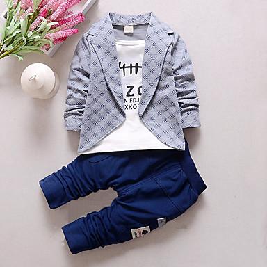 povoljno Odjeća za dječake-Dijete koje je tek prohodalo Dječaci Karirani uzorak Karirani uzorak Kolaž Dugih rukava Regularna Pamuk Komplet odjeće Sive boje