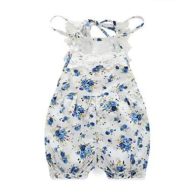 preiswerte Meist Verkaufte-Baby Mädchen Blumig Blumen / Spitze Druck Ärmellos Einzelteil Blau