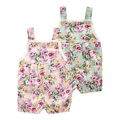 preiswerte Einteiler für kleine Mädchen-Baby Mädchen Blumig Blumen / Modisch Druck Ärmellos Einzelteil Rosa