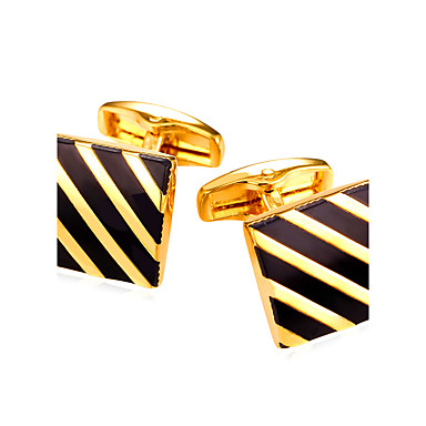 cheap Men's Cufflinks-Geometric Silver / Golden Cufflinks Vintage / Fashion Men's / Women's Costume Jewelry For