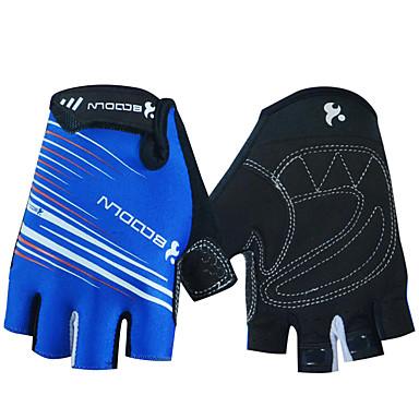 BOODUN ฤดูหนาว ถุงมือขี่จักรยาน ขี่จักรยานปีนเขา ระบายอากาศ ป้องกันการลื่นล้ม Sweat-wicking Protective ถุงมือแบบครึ่งมือ กิจกรรมและถุงมือสำหรับกีฬา Lycra สีดำ ฟ้า ใบไม้สีเขียวที่มีสามแฉก สำหรับ