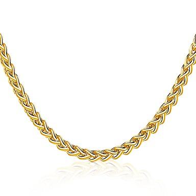 levne Pánské šperky-Pánské Dámské Obojkové náhrdelníky Geometrické Kroucený Foxtail řetězec Prohlášení Luxus příroda Gothic Pozlacené Žluté zlato 18K zlato Zlatá Náhrdelníky Šperky Pro Vánoce Ležérní Formální Klub