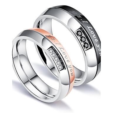 levne Pánské šperky-Pánské Snubní prsteny Band Ring Groove kroužky Kubický zirkon Bílá Titanová ocel Circle Shape Luxus Klasické láska Párty Narozeniny Šperky