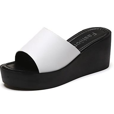 Mujer Zapatos PU Otoño / Invierno Suelas con luz Zapatillas y flip-flops Tacón Cuña Puntera abierta Blanco / Negro Qxpd8gZKpn