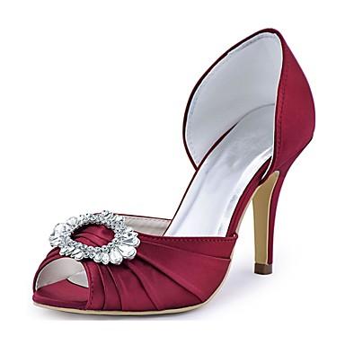 Mujer Zapatos Satén Elástico Primavera / Verano Pump Básico Zapatos de boda Tacón Stiletto Punta abierta Cristal Azul Oscuro Oft5K8UK