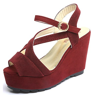 Mujer Zapatos PU Primavera Confort Sandalias Tacón Bajo Dedo redondo Plata / Rojo GwSdijuSKN