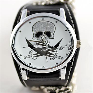 levne Pánské-Pánské Dámské Módní hodinky Křemenný Kůže Kapela Komiks Černá