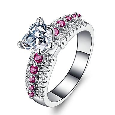 Γυναικεία Band Ring Cubic Zirconia Moissanite 1 Ροζ Ανοικτό Ζιρκονίτης Επάργυρο Βίντατζ Κομψό Γάμου Βραδινό Πάρτυ Κοσμήματα HALO