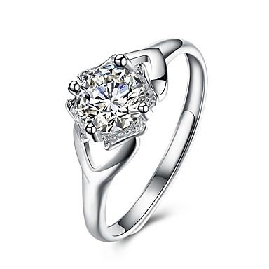 billige Motering-Dame Håndledd Ring Kubisk Zirkonium moissanite Sølv Sølv Geometrisk Form Personalisert Luksus Klassisk Bryllup Fest Smykker Kjærlighed Justerbar