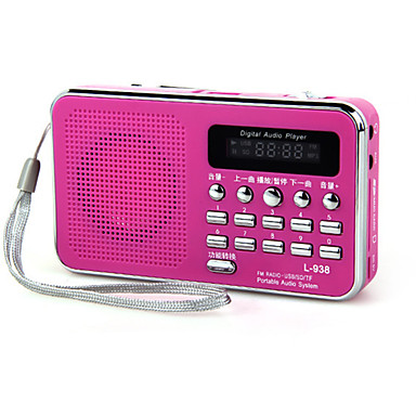 [$11 99] L-938 FM Portable Radio MP3 Player TF Card World Receiver Red /  Blue / Pink
