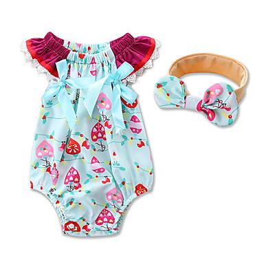 povoljno Odjeća za bebe-Dijete Djevojčice Cvijetan / Svečana odjeća Geometrijski oblici / Moda Kratkih rukava Pamuk bodysuit Plava / Dijete koje je tek prohodalo