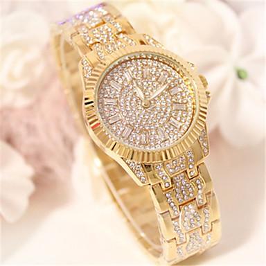 levne Pánské-Dámské Maketa Diamant Hodiny Vykládané hodinky Křemenný Slitina Kapela Třpyt Stříbro Zlatá Růžové zlato