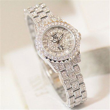 levne Pánské-Dámské Maketa Diamant Hodiny Vykládané hodinky Křemenný Slitina Kapela Třpyt Stříbro Zlatá