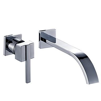preiswerte Armaturen für das Badezimmer-Waschbecken Wasserhahn - Wand Chrom Wandmontage Einzigen Handgriff Zwei LöcherBath Taps
