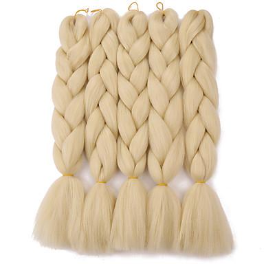 preiswerte Haarzöpfe-Gehäkelt Jumbo-Zöpfe 100% kanekalon haare Kanekalon Zöpfe Lang Geflochtenes Haar 1 Stück