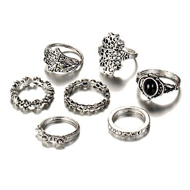 levne Pánské šperky-Dámské Sada kroužků 7ks Stříbrná Postříbřené Slitina Geometric Shape Vintage Cikánské Punk Svatební Párty Šperky Geometrické Kytky