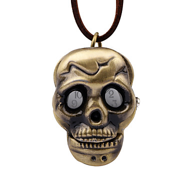 preiswerte Taschenuhr-Herrn Uhr Taschenuhr Mechanischer Handaufzug Leder Braun Armbanduhren für den Alltag Analog Retro Totenkopf Bronze